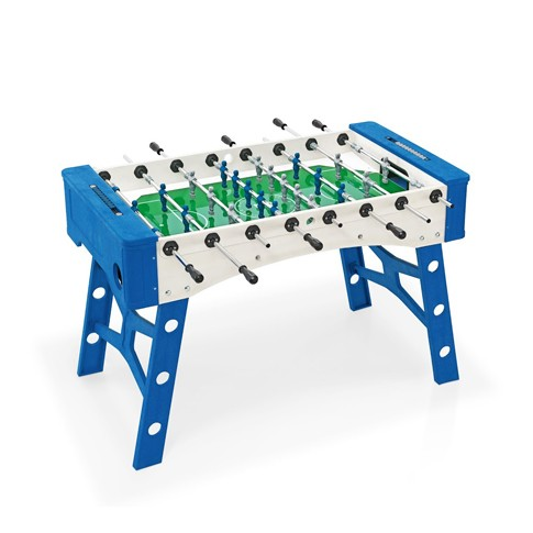 blue and white football table