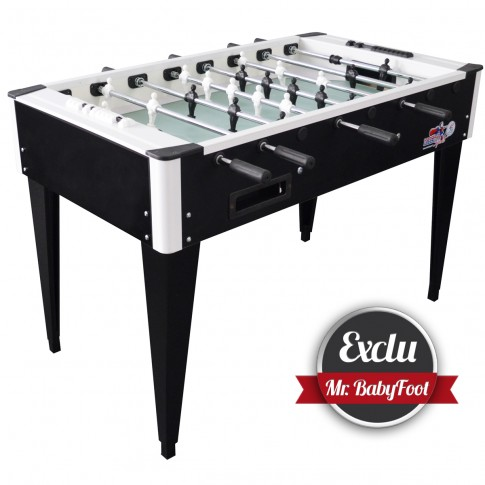 inexpensive and exclusive black and white football table