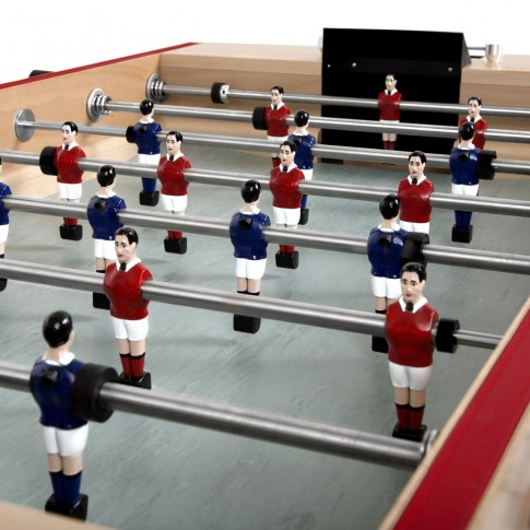 football table with blue and red players
