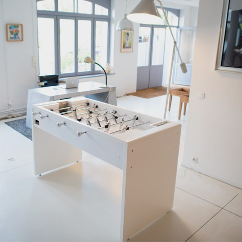 T11 Toulet  Debuchy white football table living room