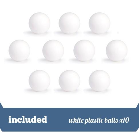 Pack of 10 white plasic balls