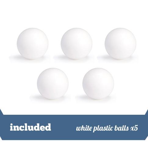 Pack of 5 white plastic balls